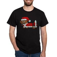 Dachshund Candy Cane Santa T-Shirt