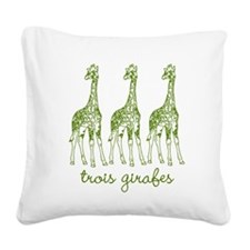 Three Giraffes (green) Square Canvas Pillow