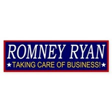 Romney Ryan Taking Care of Business Bumper Sticker