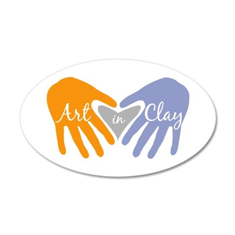 Art in Clay / Heart / Hands 35x21 Oval Wall Decal