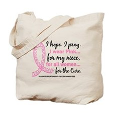 Hope Pray Wear Pink Breast Cancer Tote Bag