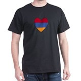 Flag of Aremenia Heart Black T-Shirt