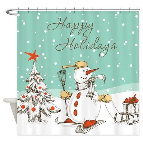 Holiday Snowman Shower Curtain by BestShowerCurtains