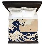 Pixel Tsunami Great Wave 8 Bit Art King Duvet