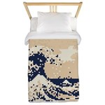 Pixel Tsunami Great Wave 8 Bit Art Twin Duvet