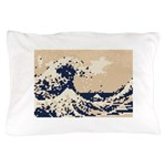 Pixel Tsunami Great Wave 8 Bit Art Pillow Case