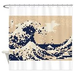 Pixel Tsunami Great Wave 8 Bit Art Shower Curtain