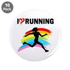 "I LOVE RUNNING 3.5"" Button (10 pack)"
