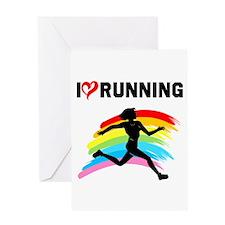 I LOVE RUNNING Greeting Card
