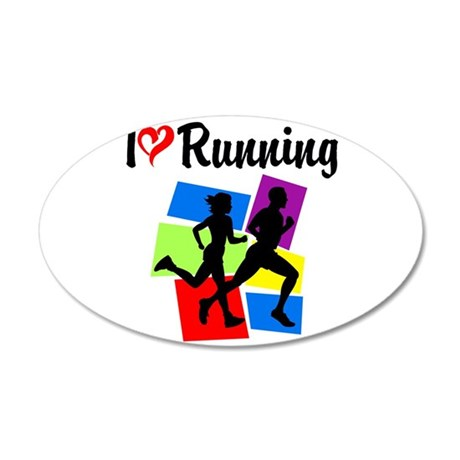 I LOVE RUNNING 20x12 Oval Wall Decal