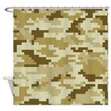 8 Bit Pixel Desert Camouflage Shower Curtain