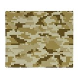 8 Bit Pixel Desert Camouflage Throw Blanket