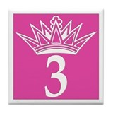 3 Number Three Pink Princess Tile Coaster