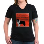 OYOOS Dog Attitude design Women's V-Neck Dark T-Sh