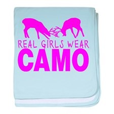 REAL GIRLS WEAR CAMO baby blanket