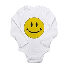 Big Yellow Happy Face Long Sleeve Infant Bodysuit