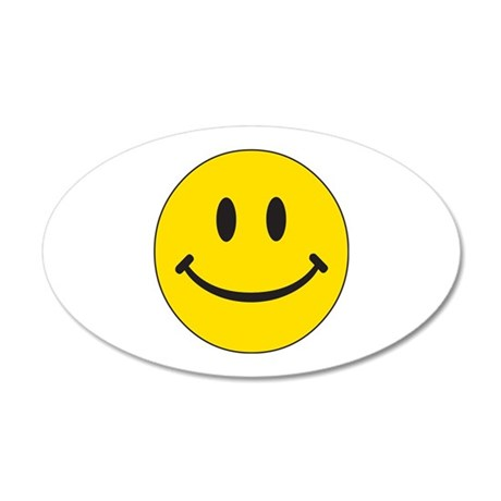 Big Yellow Happy Face 35x21 Oval Wall Decal