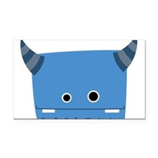 Blue Horned Monster Rectangle Car Magnet