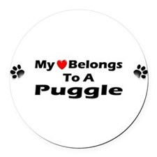My Heart Belongs Puggle Round Car Magnet