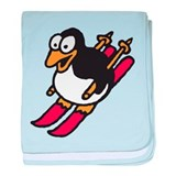 skiing penguin baby blanket