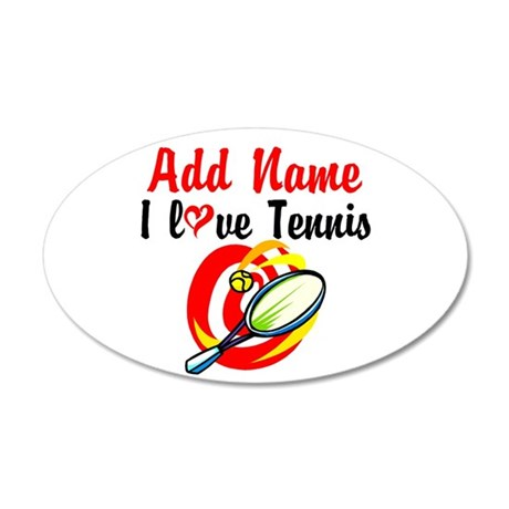 I LOVE TENNIS 20x12 Oval Wall Decal