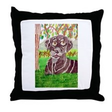 Chocolate Labrador by Jocelyn Triggle Throw Pillow