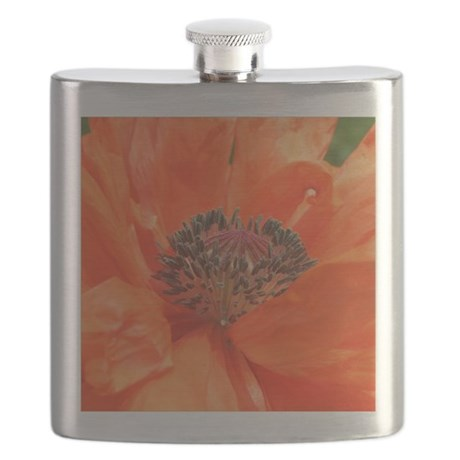 Orange Icelandic Poppy Flask