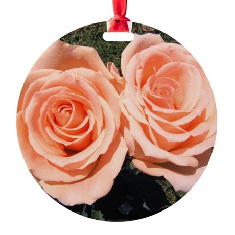 peachroses-shirt.jpg Round Ornament
