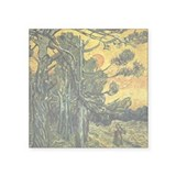 "Van Gogh Pine Trees Square Sticker 3"" x 3"""