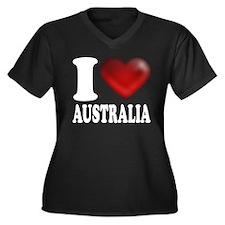 I Heart Australia Women's Plus Size V-Neck Dark T-