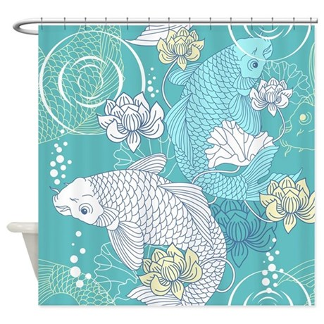 Gray Striped Shower Curtain Pond Shower Curtain