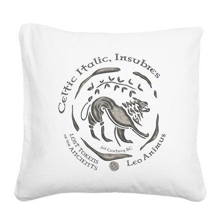 Celtic Lion Coin Square Canvas Pillow