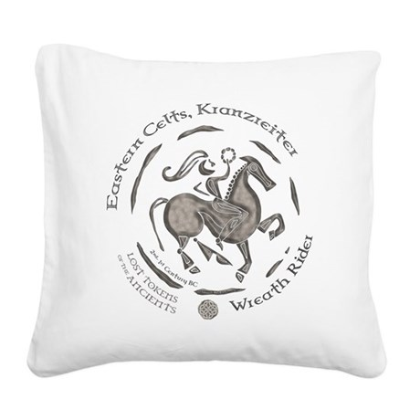 Celtic Wreath Rider Coin Square Canvas Pillow