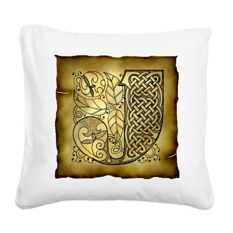 Celtic Letter J Square Canvas Pillow
