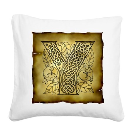 Celtic Letter Y Square Canvas Pillow