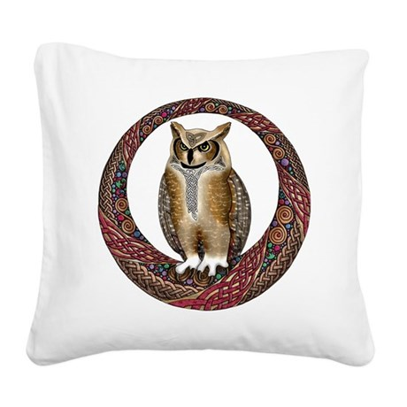 Celtic Owl Square Canvas Pillow