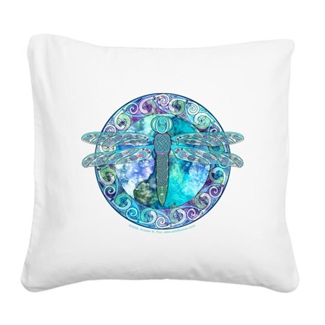 Cool Celtic Dragonfly Square Canvas Pillow