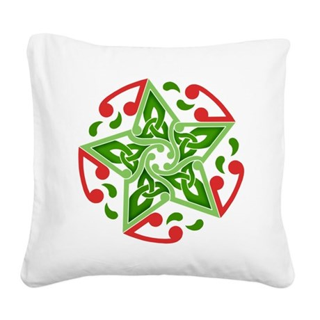 Celtic Christmas Star Square Canvas Pillow