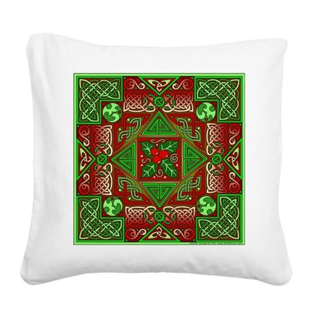 Celtic Labyrinth Holly Square Canvas Pillow