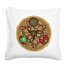 Celtic Reindeer Shield Square Canvas Pillow