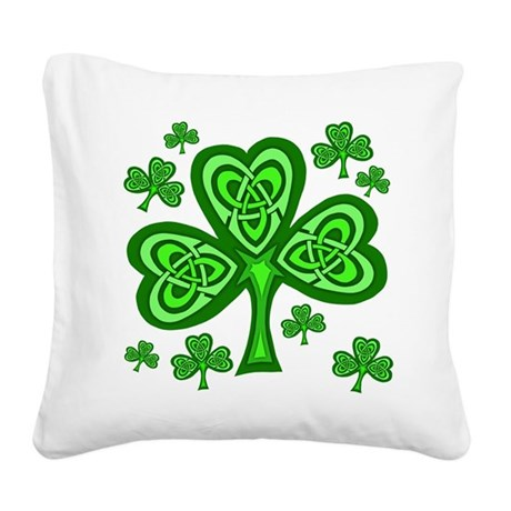 Celtic Shamrocks Square Canvas Pillow