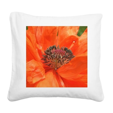 Orange Icelandic Poppy Square Canvas Pillow