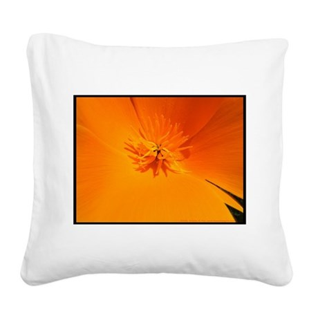 California Poppy Square Canvas Pillow