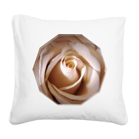 Ivory Rose Square Canvas Pillow