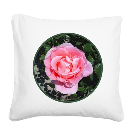 pinkrose-shirt.jpg Square Canvas Pillow