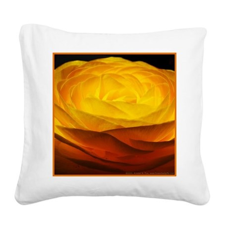 Yellow Ranunculus Square Canvas Pillow