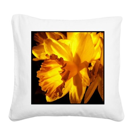 Yellow Daffodil Square Canvas Pillow