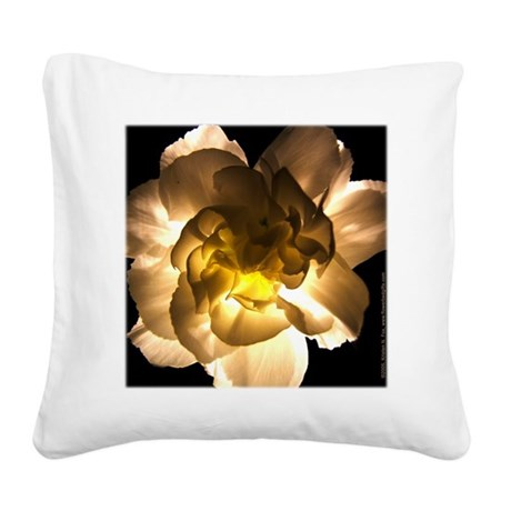 White Carnation Square Canvas Pillow