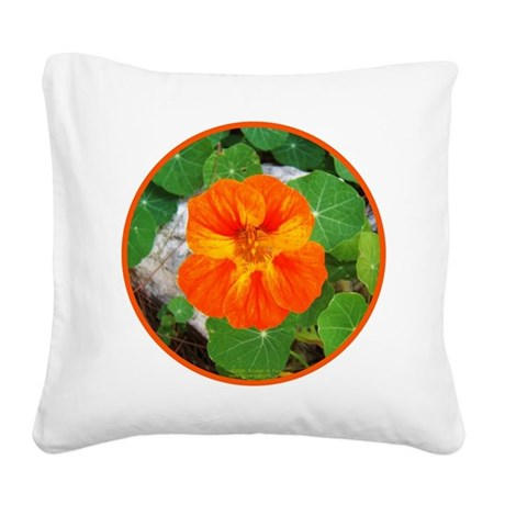 Orange Nasturtium Square Canvas Pillow