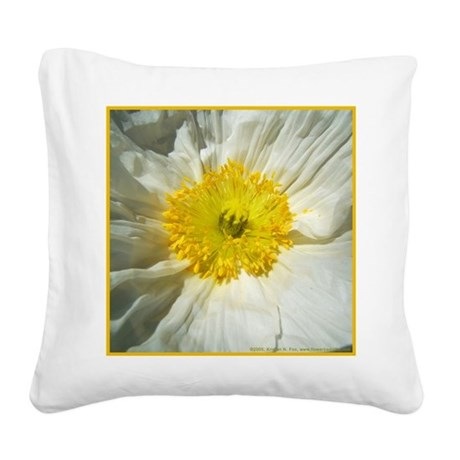 White Icelandic Poppy Square Canvas Pillow